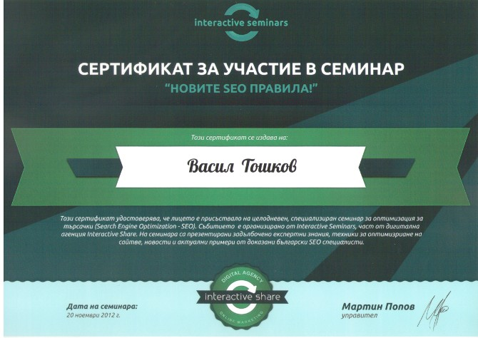 Сертификат от Interactive Share